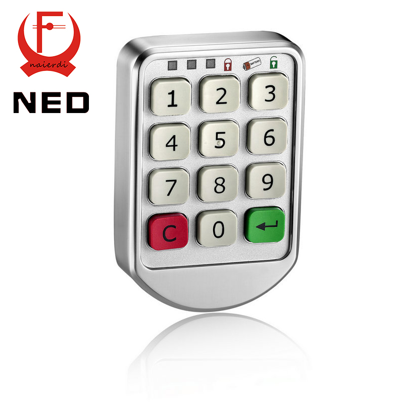 NED-906 Silver Metal Digital Electronic Password Intelligent Lock Keypad Number Cabinet Code Sauna Locks Backup Power Choice(China (Mainland))