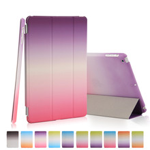For ipad mini 2 3 retina Case Rainbow PU Leather Ultra Slim magnetic Smart cover auto sleep + hard pc back shell(China (Mainland))