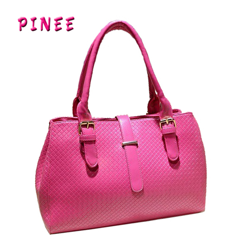 Korean Style woven bag vintage Lady handbags 2016 cheap cute tote bags PU leather Shoulder bag Free shipping(China (Mainland))