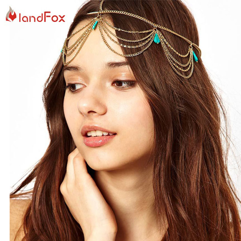 Women Gold Headpiece Hairpins Head Turquoise Hair Chain Jewelry Tiara Headband Party Hair Band Wedding Hair Pins Head Jewelry(China (Mainland))
