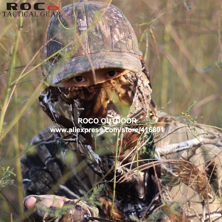 Para hombre del camuflaje de caza Realtree Camo Ghillie traje traje de pesca incluye chaqueta pantalones enfrentan máscara guantes y sombrero de la pesca(China (Mainland))
