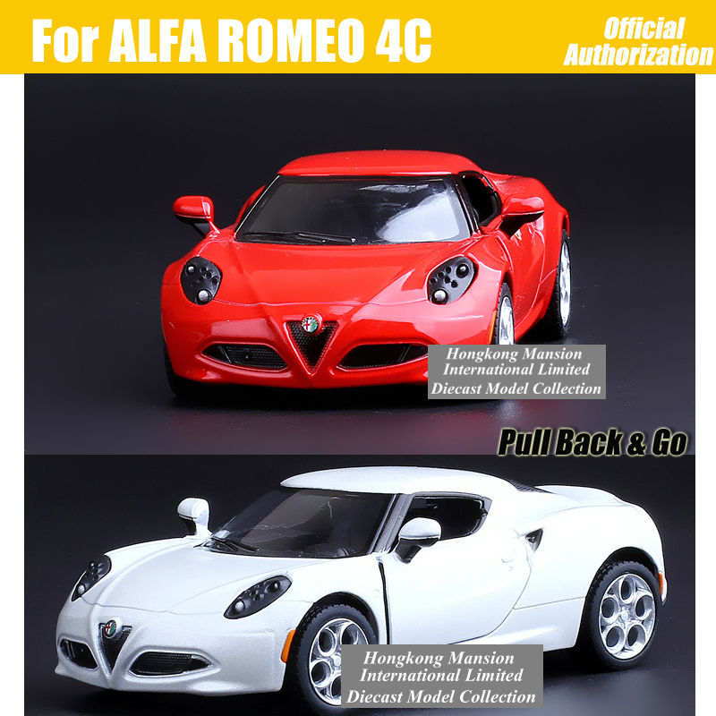 1:36 Scale Alloy Metal Diecast Sports Car Model For ALFA ROMEO 4C Collection Model Pull Back Toys Car-Red / Gray / White / Black(China (Mainland))