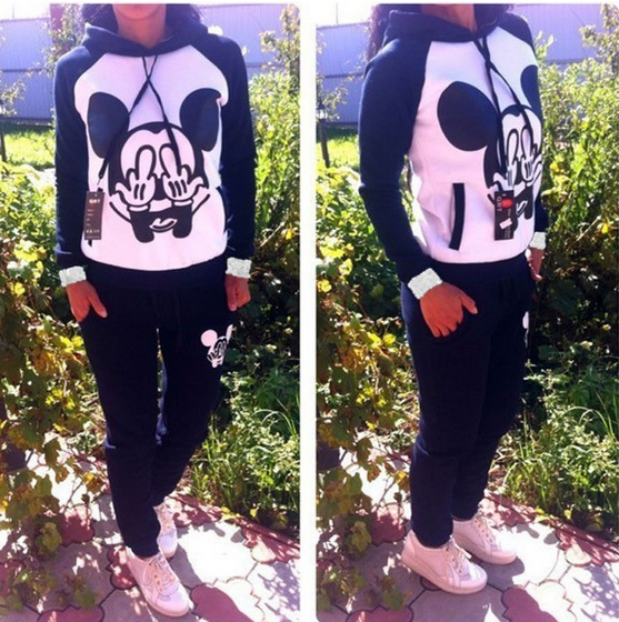 2014 Spring Fashion Women Female Casual Hooded Mickey Mouse Girl Sport Sweatshirt / Suit Set Hoodies + Pants Free shipping(China (Mainland))