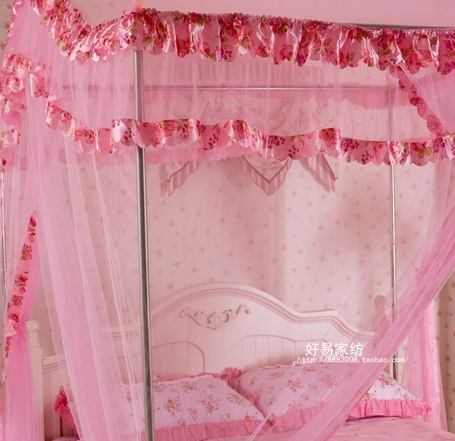 Three Door Floor With 16mm Stainless Steel Frame Royal Princess Mosquito Net Canopy For Bed Hot Selling Canopy(China (Mainland))