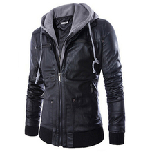 2016 New brand men leather jacket mens hooded leather jacket with fur hood leather jacket zipper design Motorcycle Leisure coat(China (Mainland))