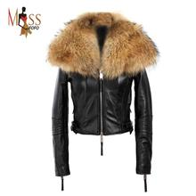 Large raccoon fur coat real sheepskin 2016 winter high fashion street women's luxurious leather jacket outerwear top quality(China (Mainland))
