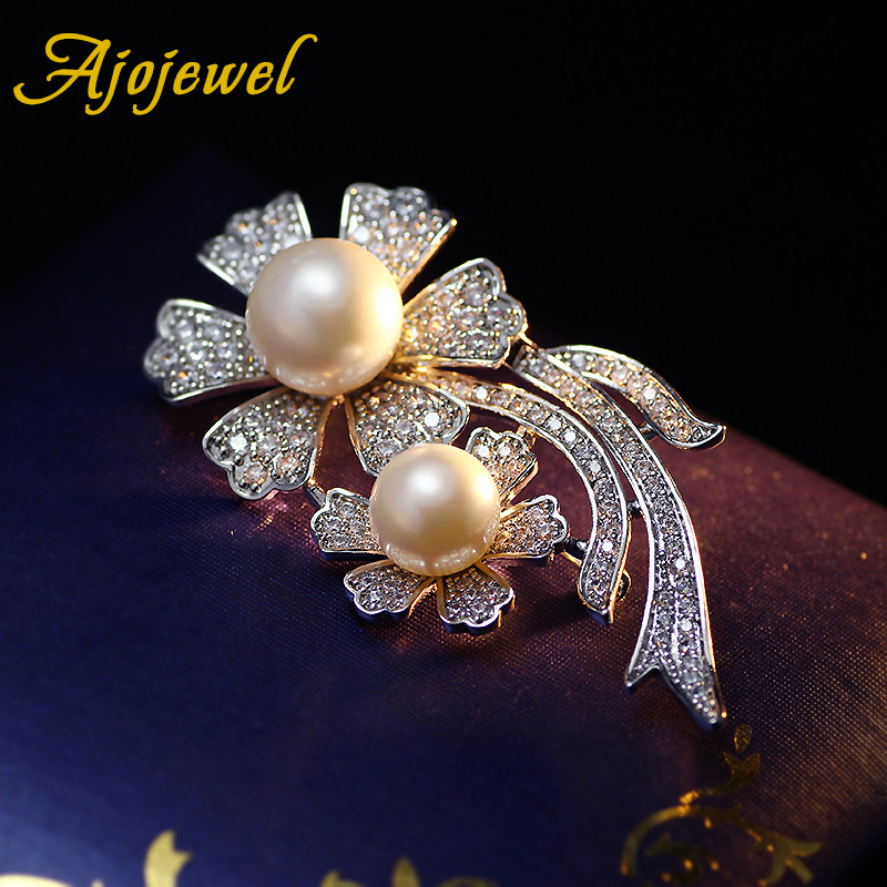 Ajojewel Elegant Jewelry Top Cubic Zirconia High Quality Simulated-pearl Double Flowers Wedding Brooch Bouquet Donna(China (Mainland))
