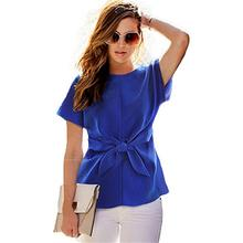 2016 Fashion Short Sleeve shirt Bow Chiffon Shirt O-neck Office Women's Chiffon Blouse casual