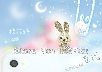 freeshipping  big ear rabbit animal with diamond  3.5mm Anti Dust Earphone Plug Headset Stopper Cap  for  htc nokia iphone