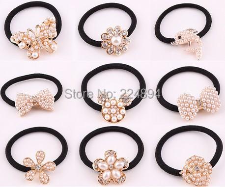 3pcs/lot Gold Elastic Headband Hair Band Tie For Hair Metal Crystal Hair Elastic Rubber Bands Scrunchy Wedding Accessories(China (Mainland))