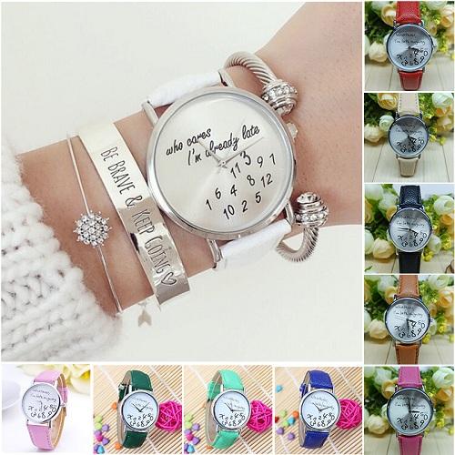 Гаджет  2015 Hot Whatever I am Late Anyway Letter Pattern Quartz Leather Women Watches Fresh New Style Dress Wristwatch 1pcs None Часы