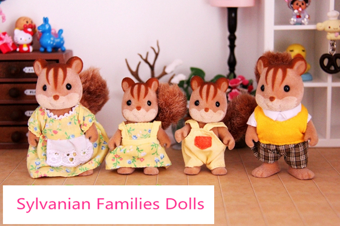 New Kid baby toys Sylvanian Families Movie TV Stuffed Plush Cute Squirrel Family Dolls 4pcs Parents Kids Set gift for girls(China (Mainland))