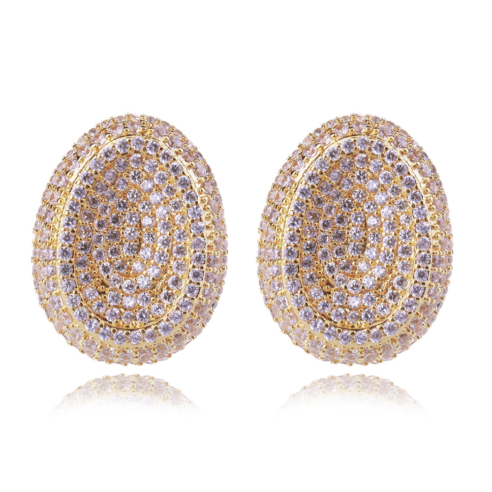 Love Deluxe Earrings-Fashion Earrings Oval Shape 18K Gold Plated Zirconia Stone Anti-allergic Female Stud Earrings Free Shipping(China (Mainland))