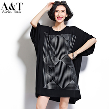 Top 2016 Summer Casual Plus Size Super Large Cotton T-shirts Female Geometric Plaid Maze Short Sleeve Loose Pullovers Women Tops(China (Mainland))