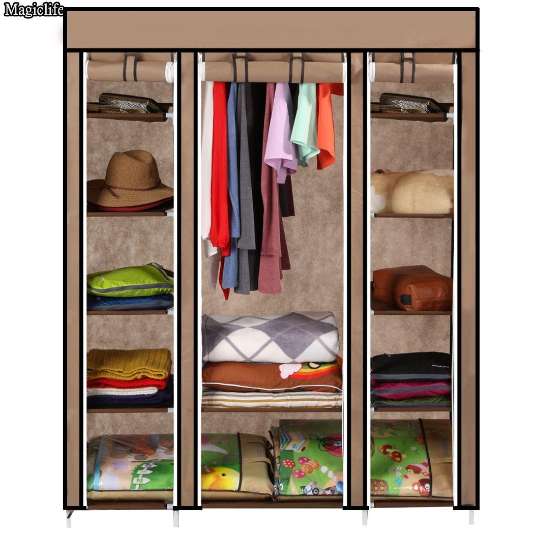 Homedox 175*135*45 DIY Portable Closet Storage Organizer Wardrobe Clothes Rack With Shelves and Hanger Coffee 22
