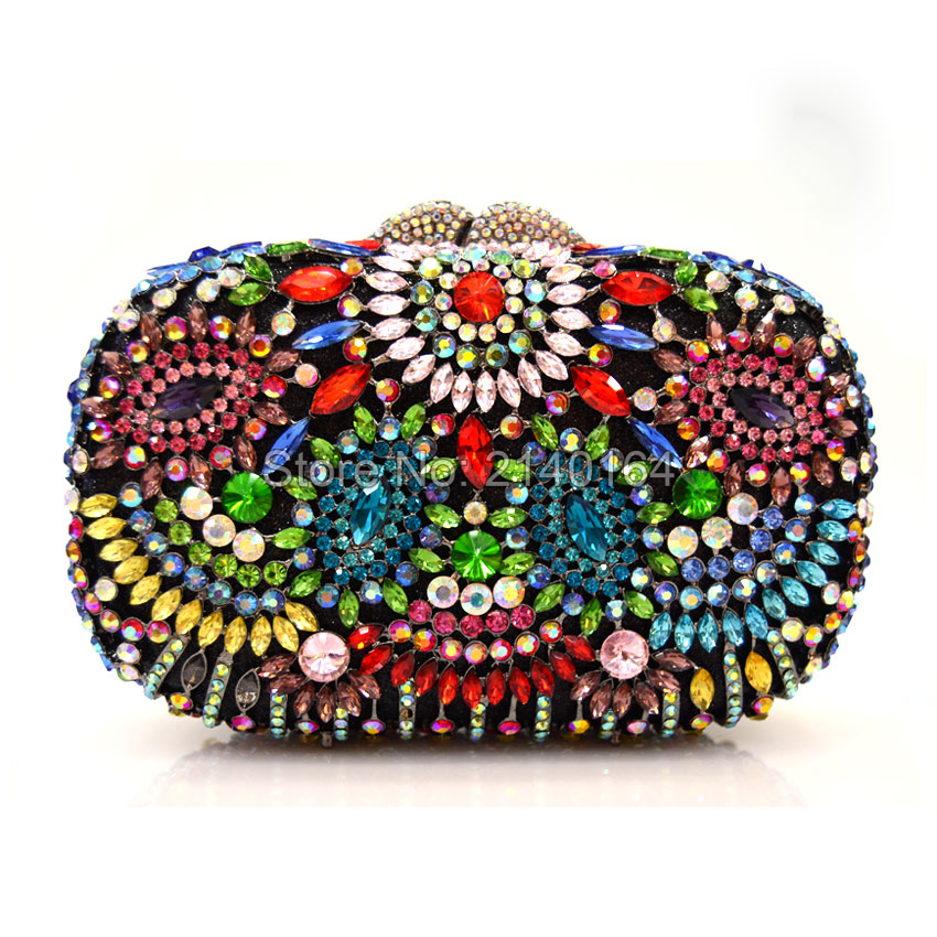 2017 New Designer Evening Bag Crystal Women Clutches Purse Wedding Bride Bag Indian Evening Handbag Party Clutches (88304-B)(China (Mainland))