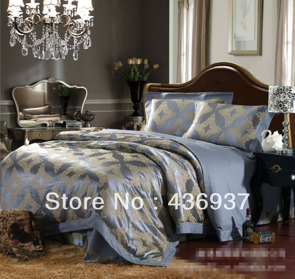 down alternative comforters Fashion tencel satin jacquard four piece set 100% piece cotton bedding set home textile(China (Mainland))