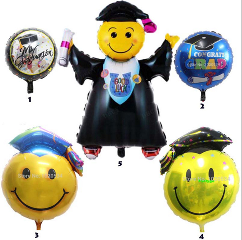 New 5 pcs/lot Doctorial Hat Balloon Round Foil Balloons Smiling Face Doctor Cap Balloon Graduation Party Decoration Supplies(China (Mainland))