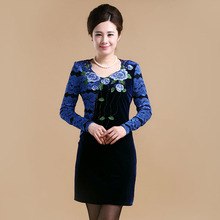 Free shipping women's designer 2015 new spring dress slim old velvet embroidery long sleeved dresses in large size mother sales(China (Mainland))