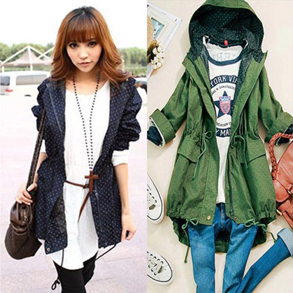 Free shipping 2014 new women wave cut polka dot hooded large pocket long coat fashion brand warm girls women's outwear(China (Mainland))