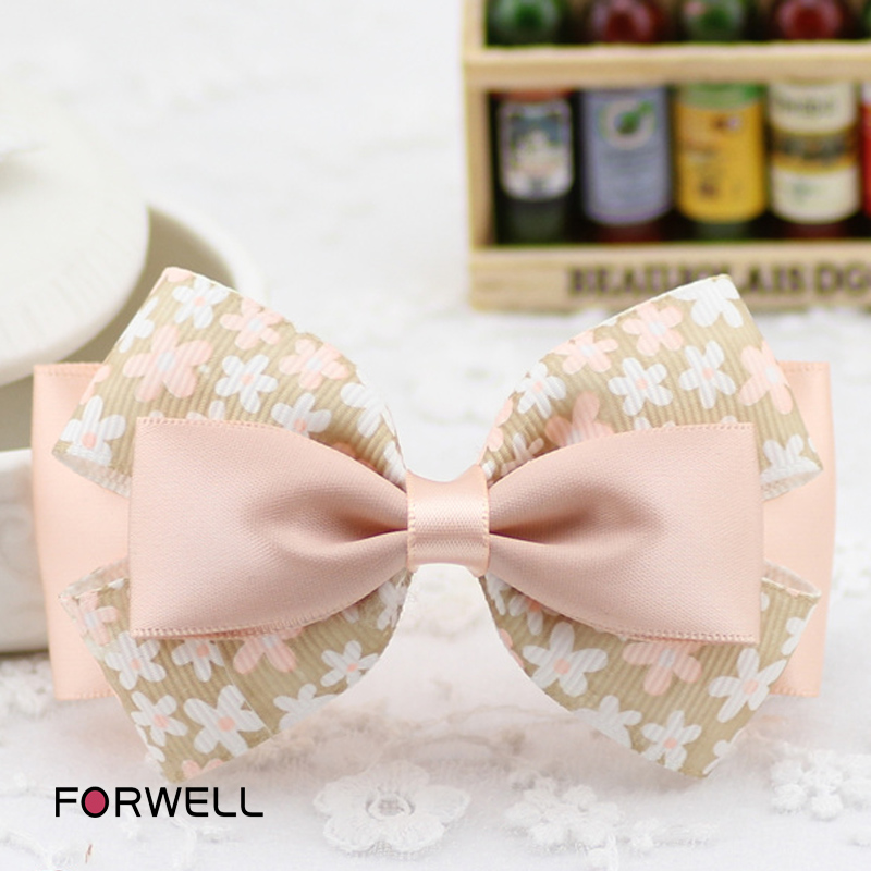 Simple style hair clip for women handmade sweet floral printed composite bow hairpins headdress flower hair accessories(China (Mainland))