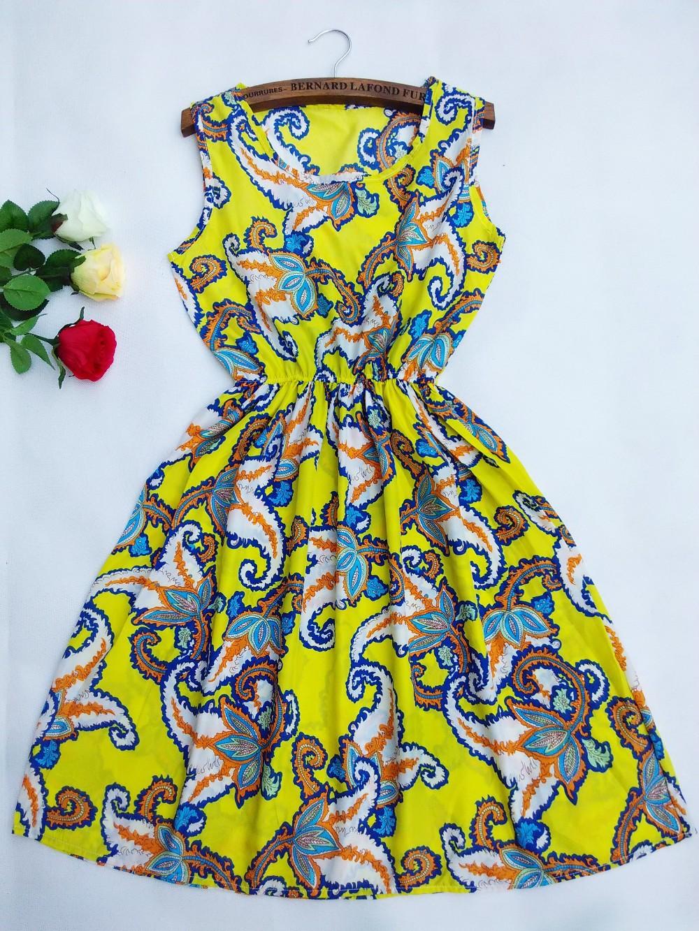 משלוח חינם 2015 חם חדש 18 סגנונות נשים מזדמנים בוהמי פרחוני leopard אפוד ללא שרוולים מודפסים חוף שיפון שמלה 17#