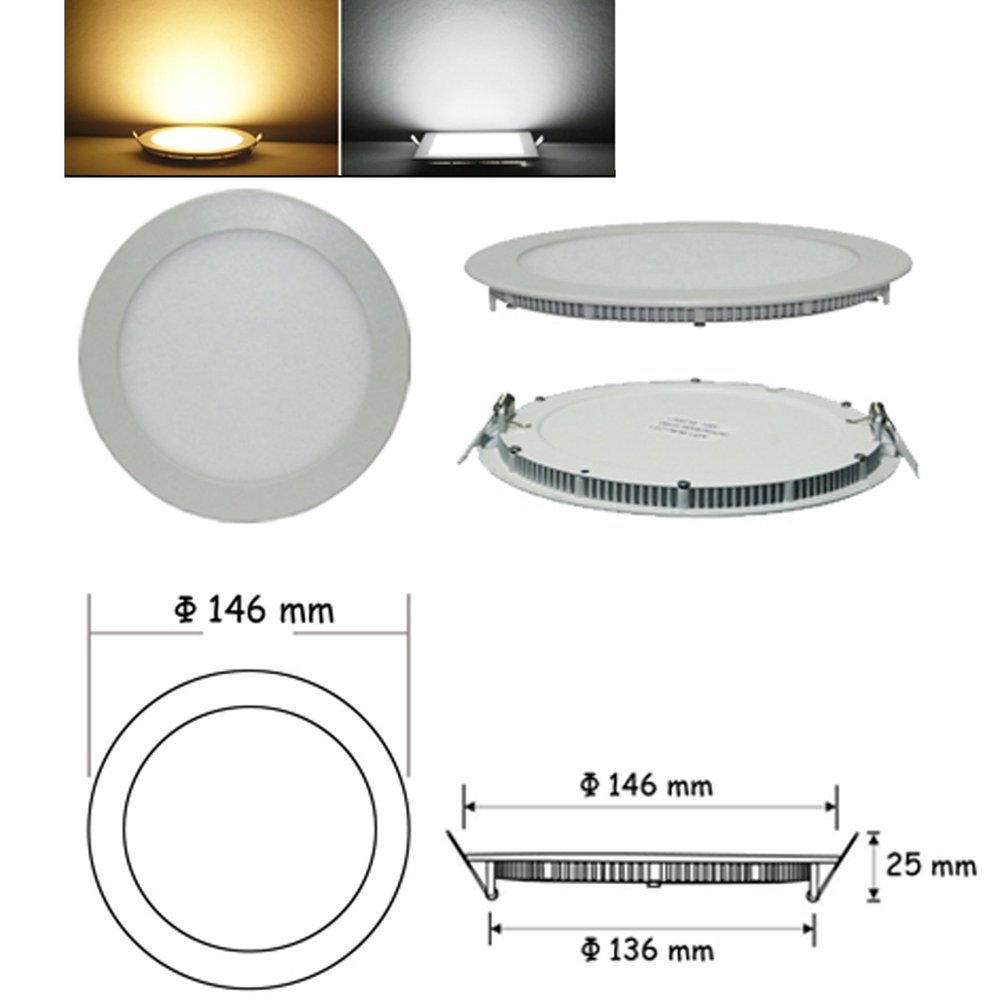 New Arrival free Shipping 6500k 3014 Smd Led Cool White Round Recessed Ceiling Panel Flat Downlights Bulb 1080lm + Driver(China (Mainland))