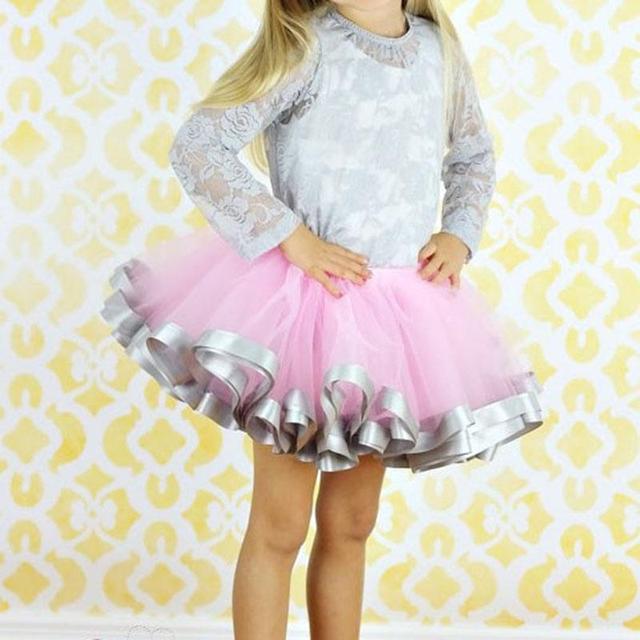 Мода девушка свободного покроя шифон розовый и серый лента юбка девочка день рождения ну вечеринку бальное платье