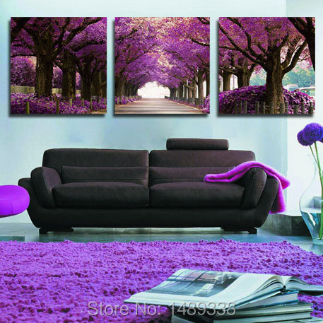 3 Panel Modern Purple Tree Canvas Painting Picture Cuadros Abstract Printed Landscape Painting For Living Room No Frame T/731(China (Mainland))