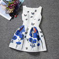 Dresses for girls 2016 New Summer Princess Girl dress butterfly floral print Elsa dress Cotton Girls