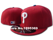 Classic Philadelphia Phillies On Field Fitted Hats Full Red Color White P Letter Embroidery Baseball Closed Caps Free Shipping(China (Mainland))