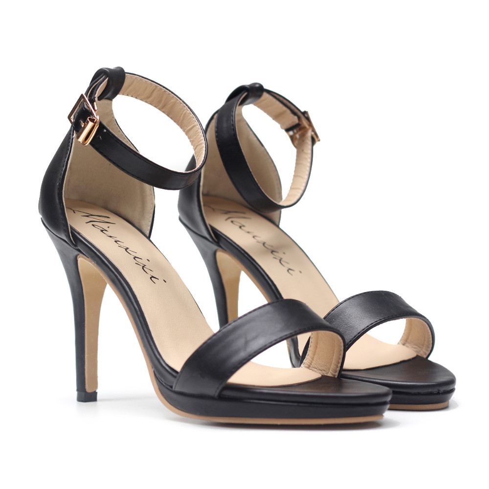 Fashion Sexy Summer Office Sandals women's shoes Solid Black White High Heel Buckle Sandals