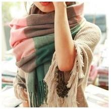 2015 hot new fashionable woman ladies multi color grid style scarf classic women long scarf shawl 1 color(China (Mainland))