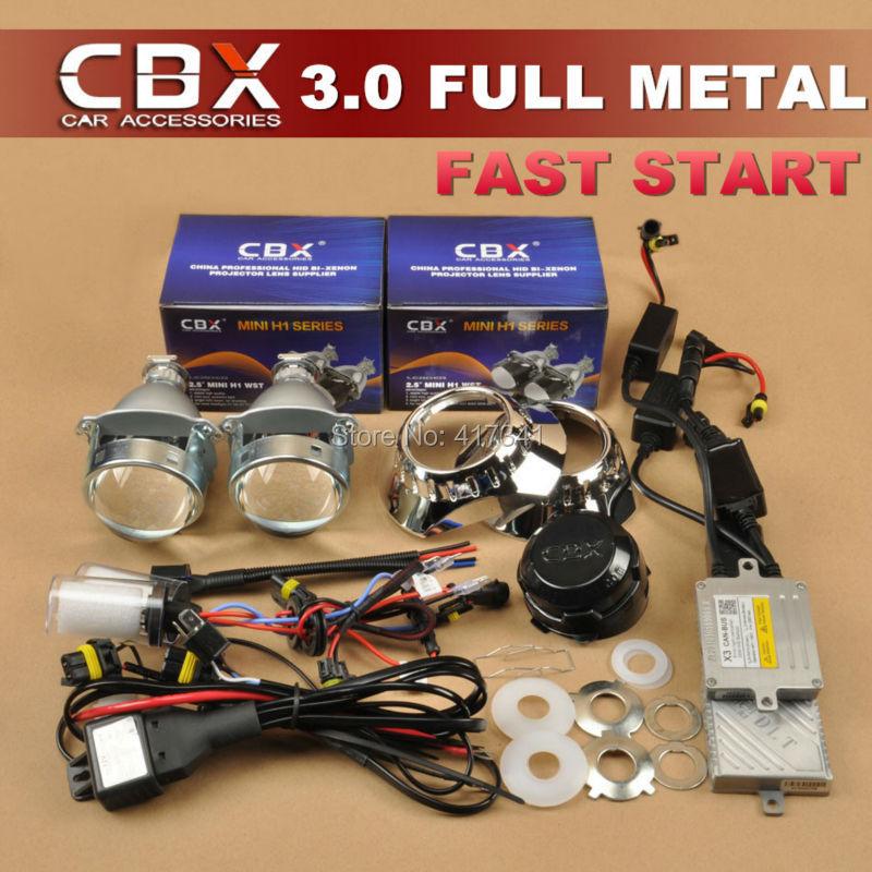 Full Metal 3.0 HID BiXenon Projector Lens LHD/RHD 35W AC H1 xenon lamp DLT F3 Fast Start HID Ballast Car Headlight H4 H7(China (Mainland))