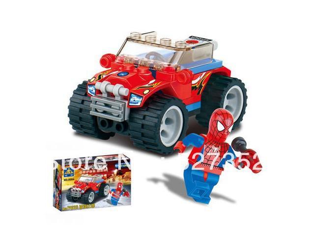 6004 Kazi Spider Man Series Red Police Car Building Block Sets 4Enlighten Educational DIY Construction Bricks toys