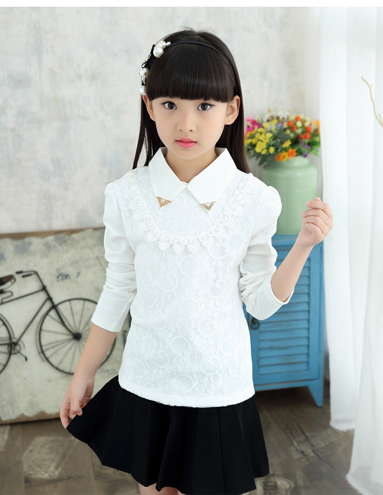 Girls Blouses Spring Autumn New Style Children Clothing Turn-Down Collar Girl Princess Shirts Floral Child Lace Shirt Tops 3-13Y