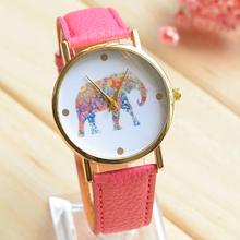 Verano de las mujeres relojes moda patrón elefante cuarzo reloj Popular variedad de colores de cuero redondo relojes envío gratis