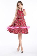 free shipping Vintage Retro Rockabilly Punk Tartan Goth Swing Skater Party Circle Dress S-6XL