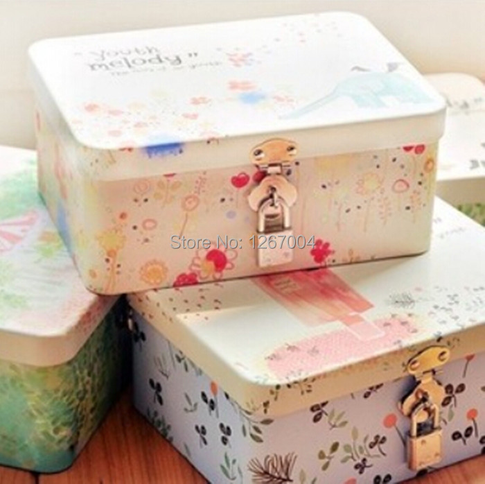 4pcs/lot Hot small fresh wind beautiful hand-painted tin storage box with lock Desk Organizers(China (Mainland))