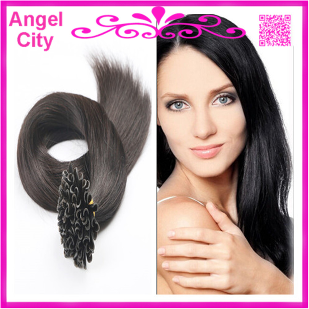 wholesale 18-28inch Nail tip Virgin Remy Indian Keratin Pre Bonded U shape Hair Extensions 1G/S 100G/PC 300G/LOT STOCK Free Ship(China (Mainland))