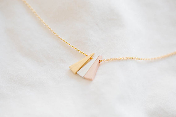 Gold 3 color triangle necklace bridesmaid gift.jpg