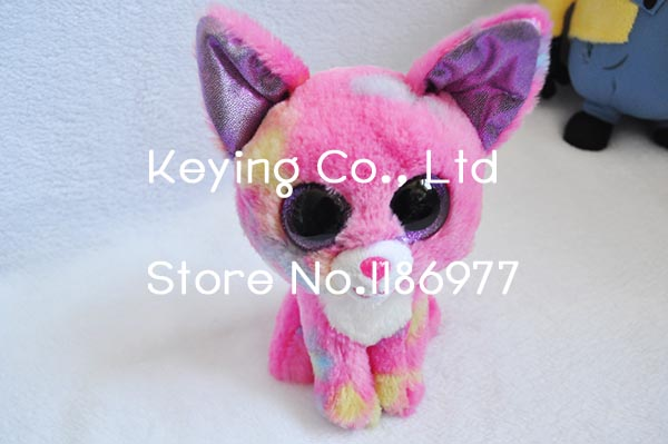 New Arrival Cute TY Beanie Boos Colorful Pink Fox Stuff Animal Plush Toy Doll Birthday Baby Girl Boy Gift Home Car Decoration(China (Mainland))