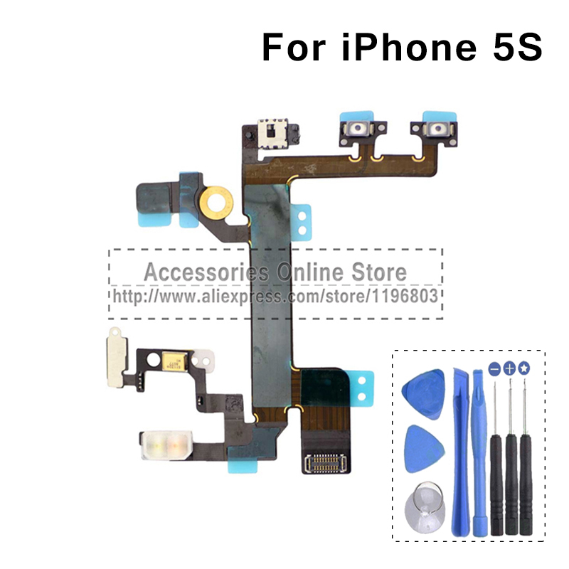 Power ON Off Flash Volume Switch Audio Mute With Flex Cable For iPhone 5s Replacement(China (Mainland))