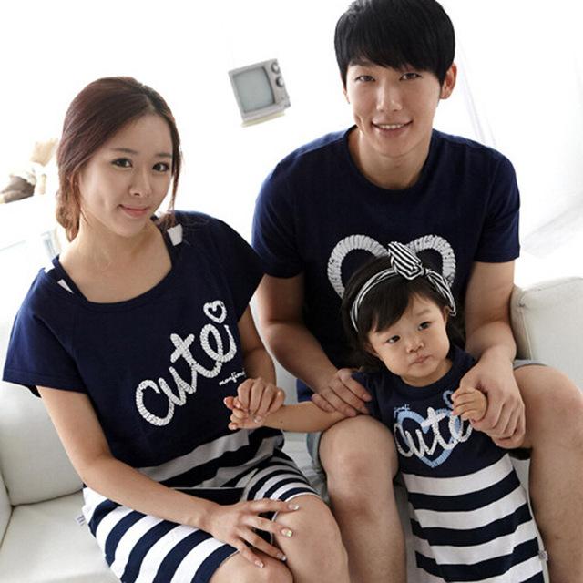 Летний стиль семейный комплект одежды хлопок письмо печать короткий рукав рубашки ...