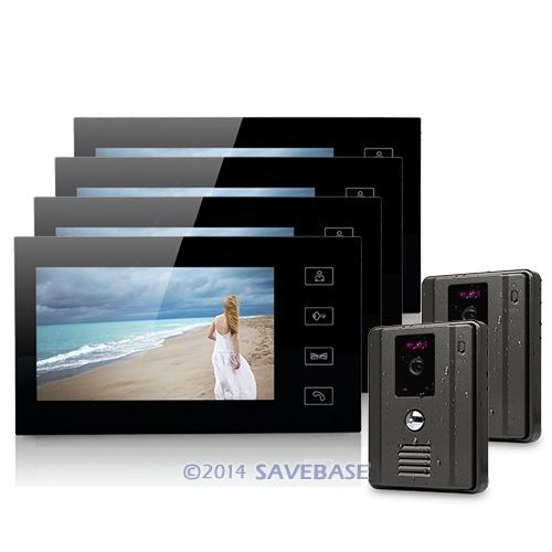 "Luxury 7"" Wired Video Door Phone Intercom System With 4 LCD Monitors+ 2 Cameras(China (Mainland))"