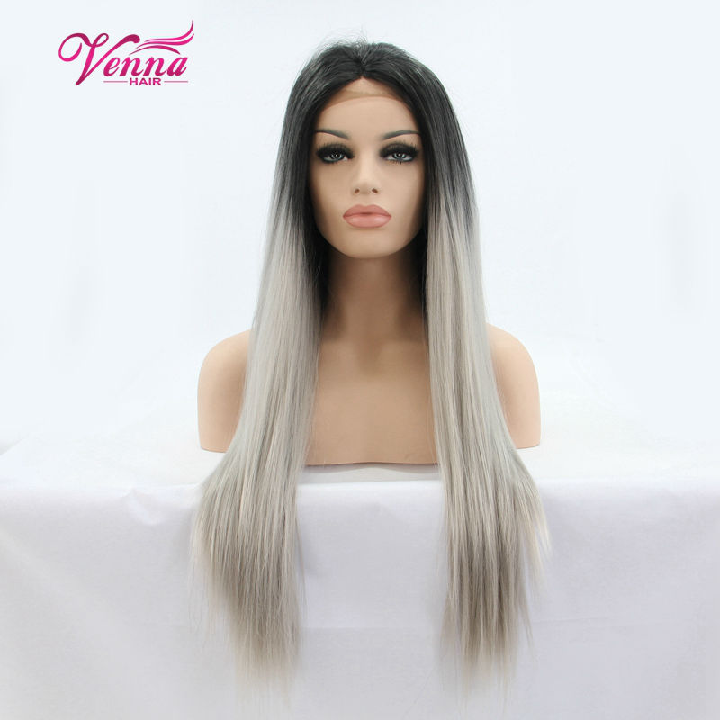 Fashion Women Two Tone Color Ombre Grey Synthetic Lace Front Wigs Glueless Long Natural Straight Wigs Black Roots Gary Hair Wig