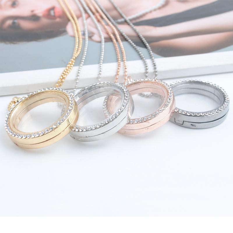 2016 Fashion Crystal Pendant Silver Rhinestone Floating locket Memory Living Locket Necklace(China (Mainland))