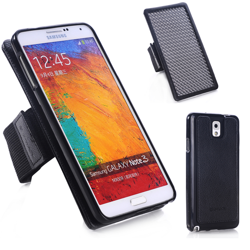 New TPU Shell + Strong Magnetic + Leather Multifunction Arm The Nylon Belt + Galvanized Iron Plate For Samsung Galaxy Note3(China (Mainland))