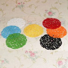 Hot Sale Excellent Quality 30x30cm Colorful Modern Round Laser Cut Flower Felt Placemats Kitchen Dinner Table Mats 8 Colors(China (Mainland))