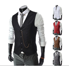 New Spring Mens Dress Vests Europe Brand Single Breasted Fitted Suits Waistcoat Male Gentle Business Sleeveless Vest Jacket Tops